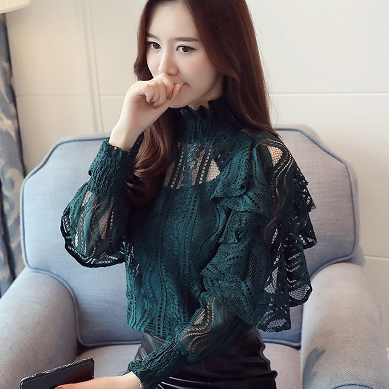 Lace Blouse High Collar Lace Sleeves Shirt