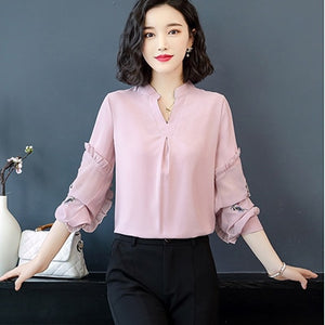 Embroidery Ruffles Blouses Women
