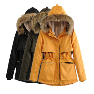 long-sleeved hooded fur collar zipper warm