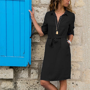 Half Sleeve Turndown Shirt Dress Women