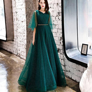 Green Lace Formal Evening Dress