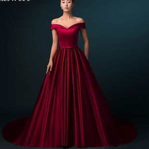 Burgundy Satin Dress Formal Dresses Evening Gown