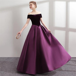 Off Shoulder Purple Evening Dress Satin Women