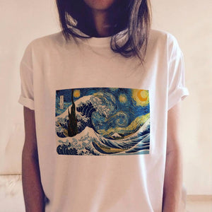 Starry Night Aesthetic White T Shirts