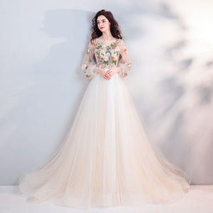Champagne Illusion Appliques Long Sleeves Prom Dress