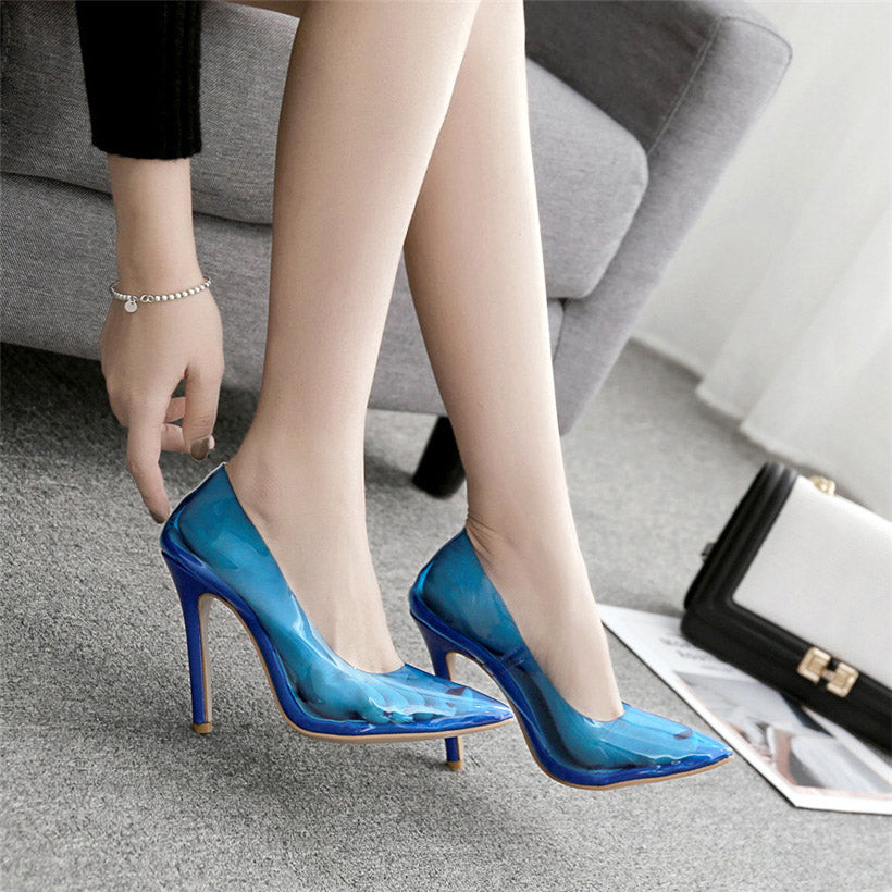 transparent pumps women shoes extrem high heels
