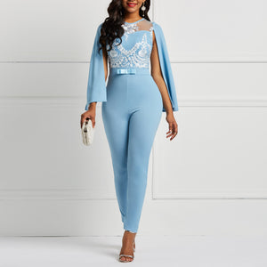 Women Spring Summer Cape Jumpsuit