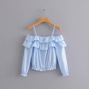 Design Ruffles Slash Neck Shirts Women Sexy