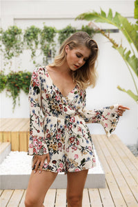 Women Floral Print Short Jumpsuits