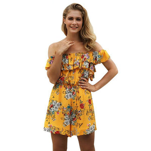 Floral Print Short Jumpsuits Women