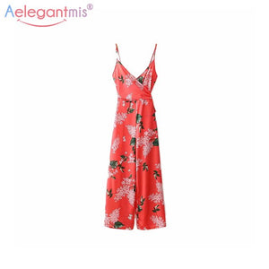 Flower Long Playsuits Sexy V-Neck