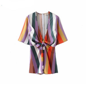 Chic Striped Playsuits Women