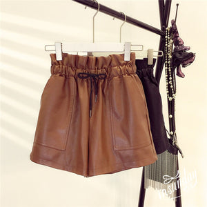 Sexy Leather Shorts High Waist Loose Wide Leg Short