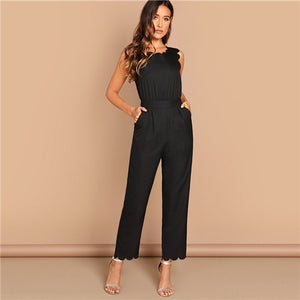 Elegant Scallop Edge Solid Jumpsuit Summer