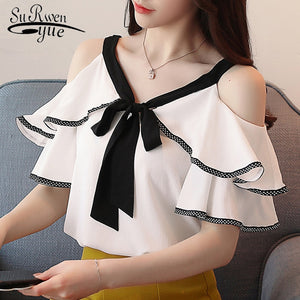 Sexy strapless bow V-neck women's clothing
