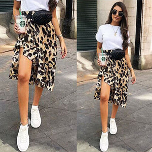 Women Leopard Print High Waist Skirt