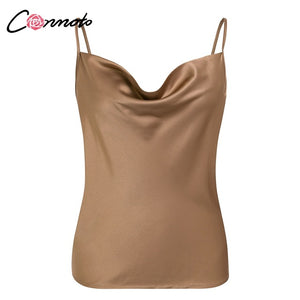 Satin Women Solid Camis Top Spaghetti Strap