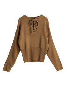 Sweater V-neck Long Sleeves  Ribbed Cuffs