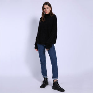 Women Turtleneck Mohair Sweater