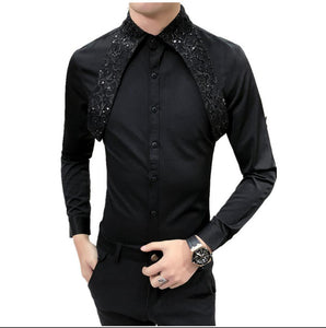Men Stitching sequined black shirt tide