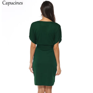 Casual Style Solid Sashes Autumn Dress Women