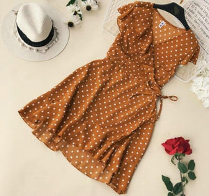 Summer Polka Dot Wrapped Dress V Neck Ruffles