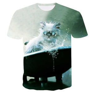 Men  3d Tshirt Print two cat Short Sleeve Summer - Narvay.com