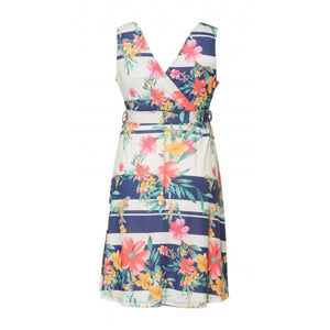 Fashionably Pregnant Heavenly Bump Floral Stripe Sash Tie Maternity Dress
