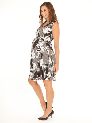Angel Maternity Maternity Wrap Dress - Black & White