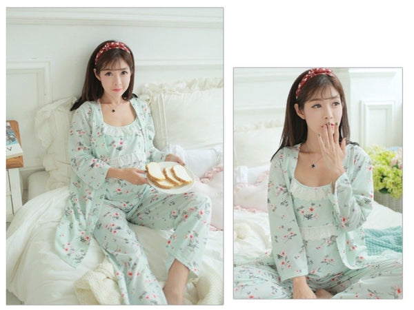 3 piece green pyjama set fashionably Pregnant Maternity Nursing Sleepwear Pyjamas PJ set & matching dressing gown