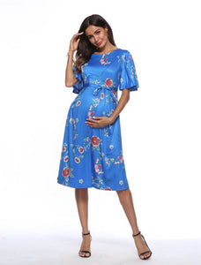Summer Flower Print Maternity Dress Light Blue
