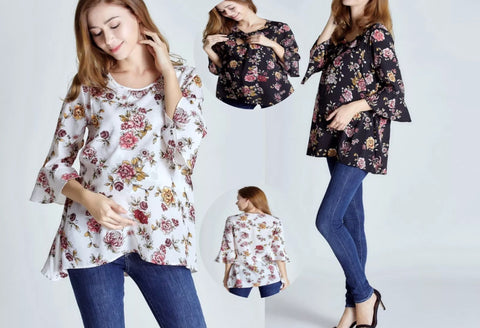 New Maternity & Nursing Smart Work Chiffon Flower Black White Blouse Top Shirt