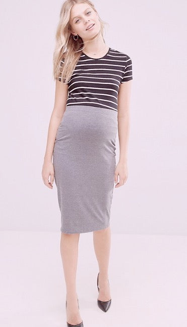 Fashionably_Pregnant_Grey_Tube_Pencil_Bodycon_Skirt_Knee_Length