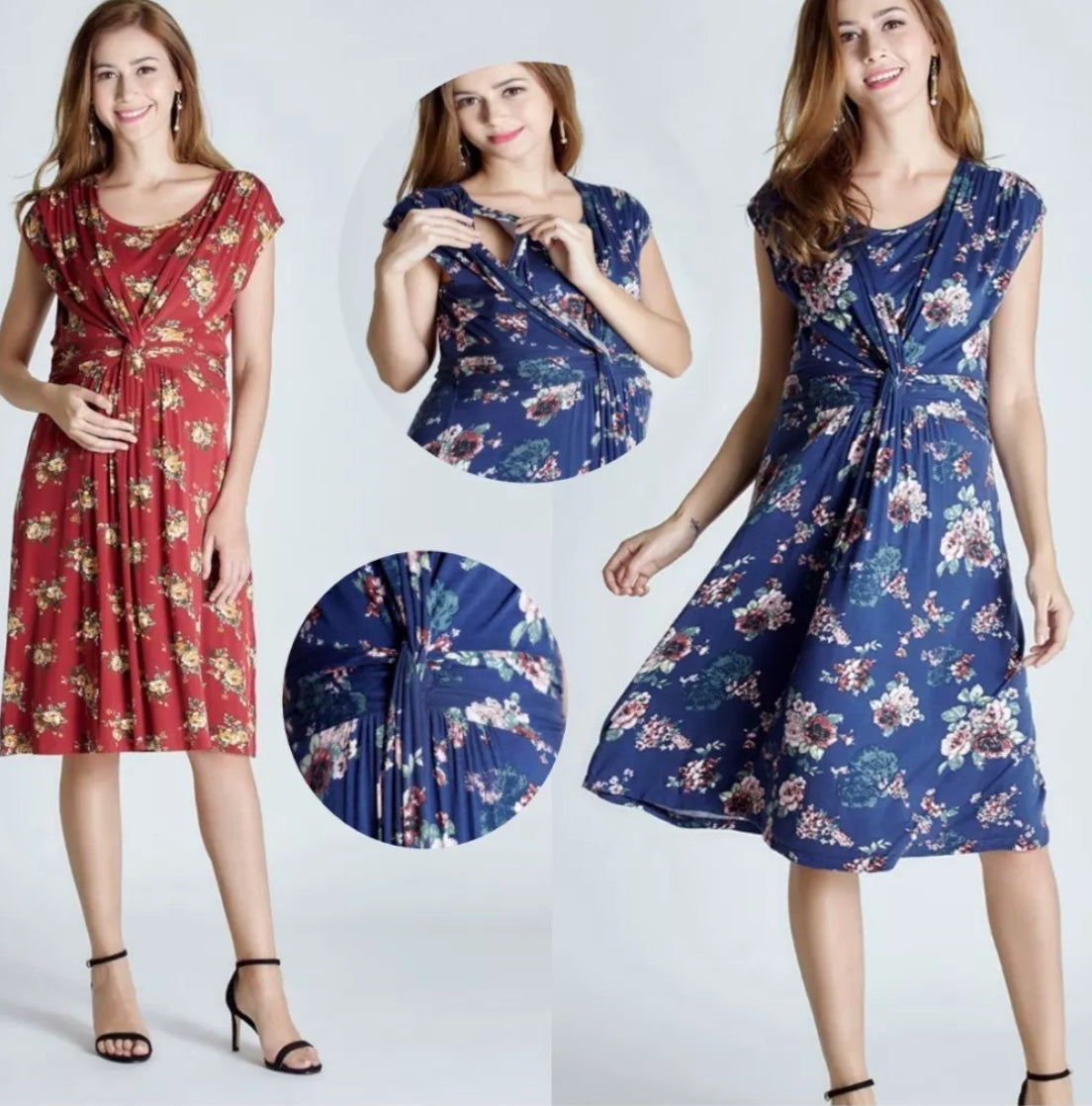 Blue Maternity & Nursing Knee Length Tea Dress Red
