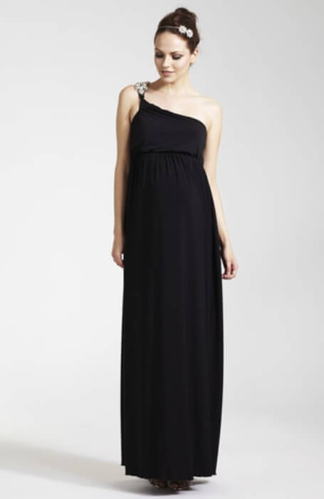 Fashionably_Pregnant Black Maternity Evening Dress Special Occasion