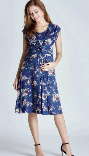 Blue Maternity & Nursing Knee Length Tea Dress