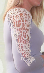 grey lace arm maternity top