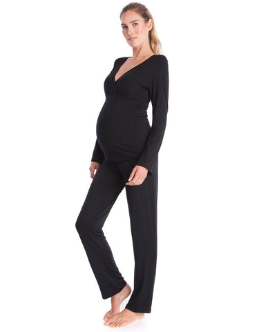 Fashionably_Pregnant_black_lounge_pyjamas_two_piece_lounge_set_maternity_nursing_hospital_bag