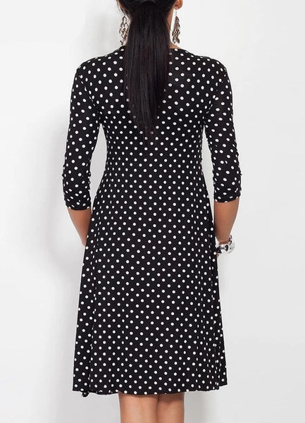 Fashionably Pregnant Black Polka Dot Dress