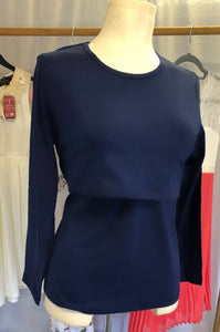 Blue Plain Maternity Nursing Stretch Top Navy Long Sleeve