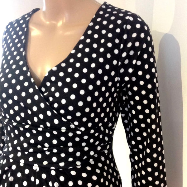 Black & White polka dot spots knee length work smart dress