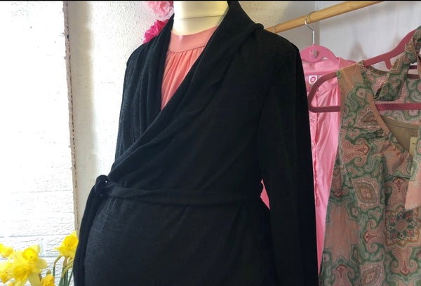 Black thin knit wrap around cardigan www.fashionablypregnant.co.uk