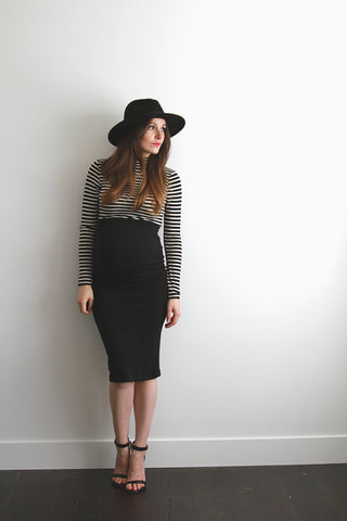 Fashionably_Pregnant_Black_Tube_Pencil_Bodycon_Skirt_Knee_Length