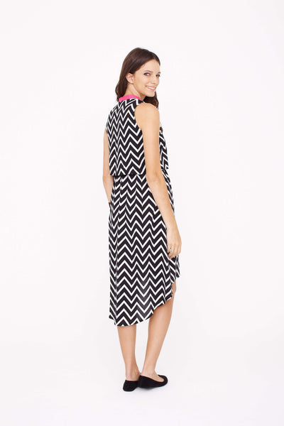 Fashionably Pregnant Designer Dote Studio Simone Chevron Maternity Dress Black White Pink