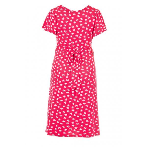 Fashionably Pregnant Heavenly Bump Acorn Print Flute Sleeve Red Maternity Dress