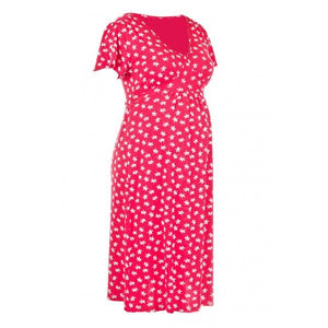 Fashionably Pregnant Heavenly Bump Acorn Print Flute Sleeve Red Maternity Dress2