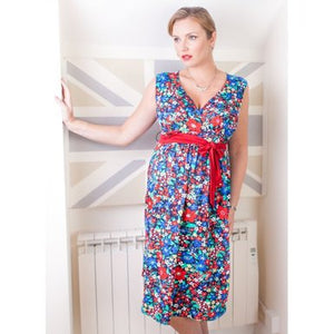 Fashionably Pregnant Heavenly Bump Maternity Springburst Sash Tie Blue Dress