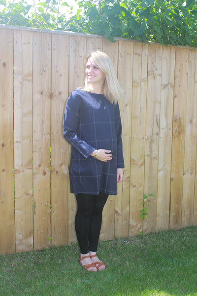 Casual Cotton Maternity Top - Navy Blue