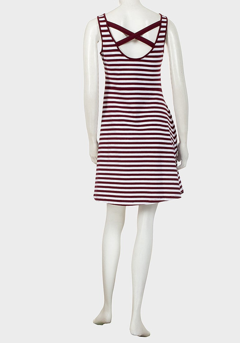 Burgundy and White Stripe Cotton Summer Dress
