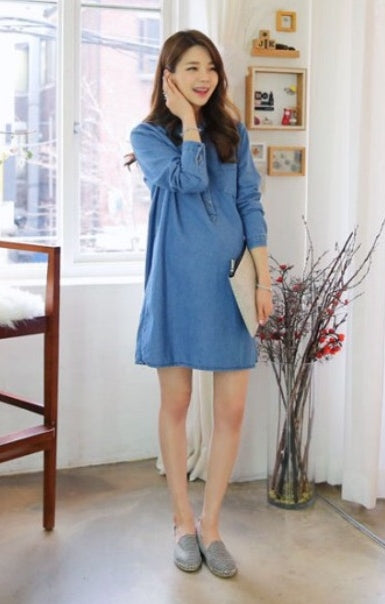 Fashionably Pregnant denim maternity dress shirt